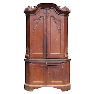 North German Rococo Painted Oak Corner Cabinet