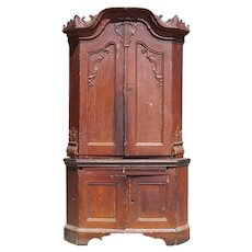 North German Rococo Painted Oak Corner Cabinet