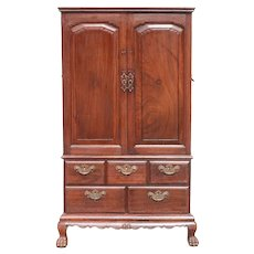 Small Anglo Indian Rosewood Linen Press Cupboard