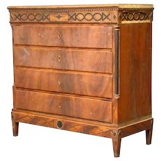Scandinavian Empire Grain-Painted Chest of Drawers