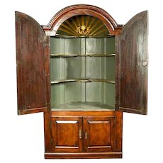 Small English George II Walnut and Painted Corner Cabinet