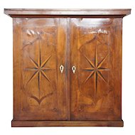 Continental Mahogany Parquetry Two-Door Hanging Cupboard