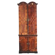 German Baroque Parquetry Palisander Two-Part Secretaire Cabinet
