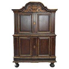 Danish/Swedish Baroque Painted, Parcel Gilt Pine Two-Part Cabinet