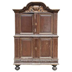 Danish/Swedish Baroque Painted, Parcel Gilt Pine Two-Part Cabinet