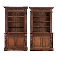 Pair of Italian Renaissance Revival Walnut Bookcases