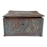 Early Swedish Baroque Iron Mounted Carved and Painted Oak Coffer Box