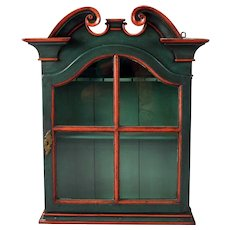 Swedish Painted Pine Glazed Door Hanging Cupboard