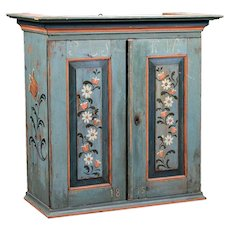 Large Swedish Allmoge Painted Pine Hanging Wedding Cupboard