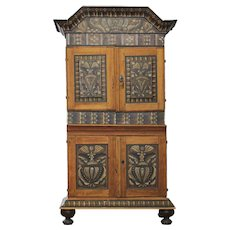 Swedish Allmoge Dalarna Region Painted Pine Stepback Cabinet