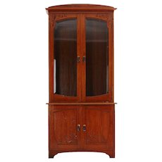 Swedish Jugendstil Glazed Door Mahogany Veneer Bookcase