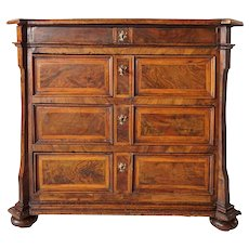 German Baroque Inlaid Walnut Veneer Chest of Drawers