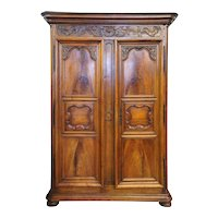 French Provincial Louis XIV Walnut Armoire