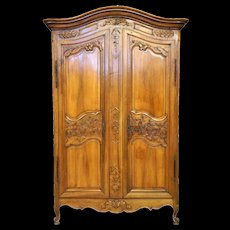 Large French Louis XV Pale Walnut Armoire