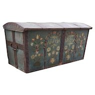 Swedish Allmoge Iron and Painted Oak Domed Dowry Wedding Trunk