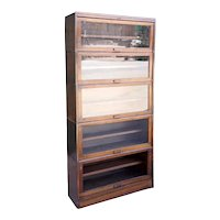 American Lundstrom Mahogany Veneer Barrister Five-Stack Barrister Sectional Bookcase