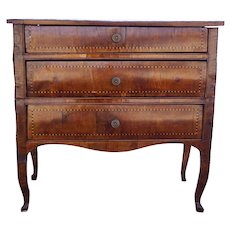 Northern Italian Parquetry Walnut Veneer Chest of Drawers