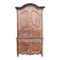 French Provincial Louis XV Walnut Buffet a Deux Corps Cabinet