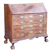 American New England Chippendale Figured Mahogany Reverse Serpentine Drop Front Desk