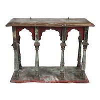 Small Indo-Portuguese Gilt and Painted Teak and Brass Hanging Open Display Shelf