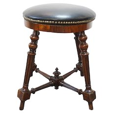 French Rosewood and Leather Piano Stool