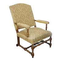French Louis XIV Fruitwood Upholstered Armchair (Fauteuil)