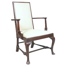 English Queen Anne Style Mahogany Upholstered Armchair