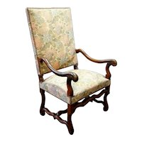 French Louis XIII Walnut Upholstered Armchair (Fauteuil)