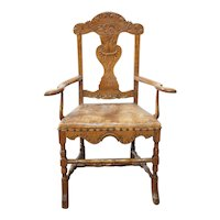 Early Danish Elm, Oak and Leather Seat Armchair