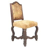 Danish Leather and Upholstered Side Chair