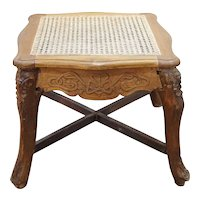 Indo-Portuguese Baroque Carved Caned Teak Stool
