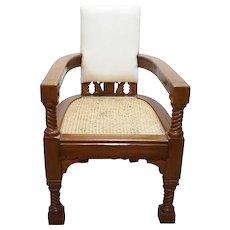Anglo Indian Minerva Furniture Works Eastlake Caned Inlaid Teak Upholstered Armchair