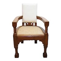 Anglo Indian Minerva Furniture Works Eastlake Caned Inlaid Teak Upholstered Armchair