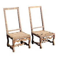 Pair of French Louis XIII Chateau de Theobon Walnut Side Chairs Frames