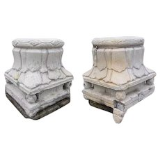 Pair of Chinese Shanxi Province Stone Pillar Capitals