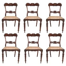 Set of Six Anglo Indian Late Regency Rosewood Caned Dining Chairs