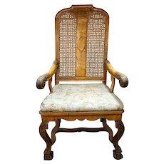 Scandinavian Regence Caned Walnut Armchair