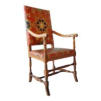 Scandinavian Baroque Leather and Oak Armchair