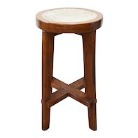 Vintage PIERRE JEANNERET Caned Teak Bar Stool from Chandigarh, India