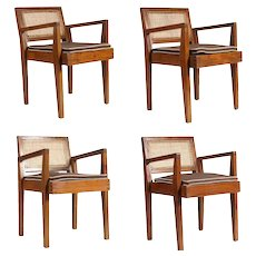 Set of Four PIERRE JEANNERET Caned Teak Armchairs from Chandigarh, India