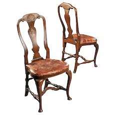 Pair of Danish Regence Faux Grain Oak and Leather Seat Side Chairs