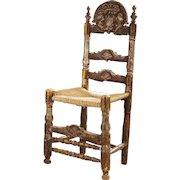 Spanish Painted Pine Ladderback Rush Seat Side Chair