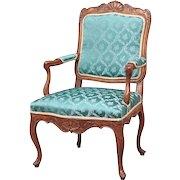 French/Swedish Louis XV Walnut Armchair (Fauteuil)