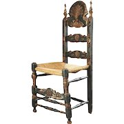 Spanish Painted Pine and Oak Ladderback Rush Seat Side Chair