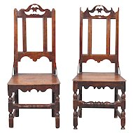 Near Pair of English Country Tall Back Dining Side Chairs