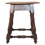 French Louis XIII Style Walnut Joint Stool