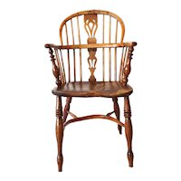 English Victorian Yew and Elm Bow Back Windsor Armchair