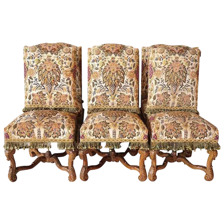 Magnificent Set 6 French Rose Terrace Mansion Beechwood Needlepoint Dining Chairs Pabps2019 Chair Design Images Pabps2019Com