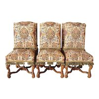 Set of Six French Louis XIV Style Beechwood and Needlepoint Rose Terrace Dining Chairs