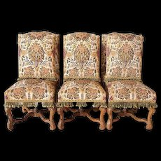 Set 6 French Louis XIV Style Beechwood and Needlepoint Dining Chairs from Rose Terrace Mansion